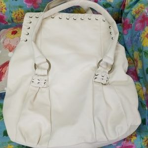 Cream Leather Fiore Slouch Bag